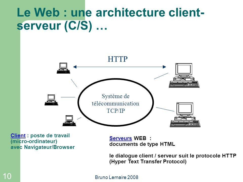 10 Bruno Lemaire 2008 Serveurs WEB : documents de type HTML le dialogue client / serveur suit le protocole HTTP (Hyper Text Transfer Protocol) Le Web