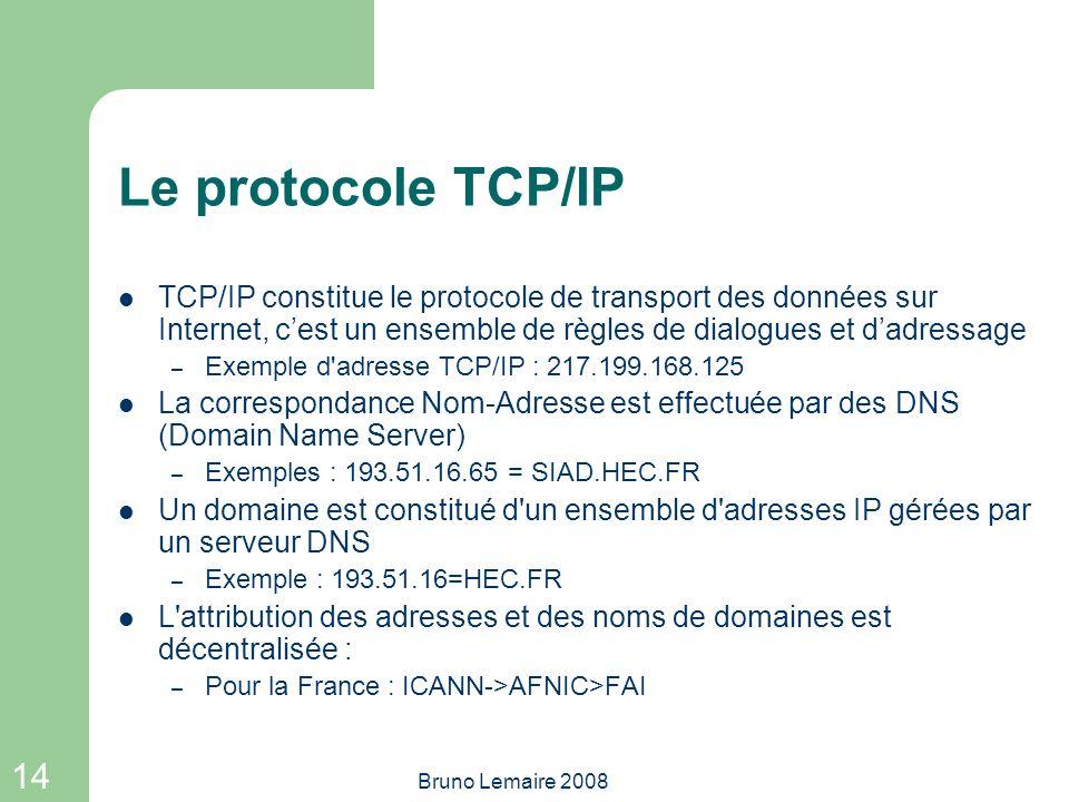 14 Bruno Lemaire 2008 Le protocole TCP/IP TCP/IP constitue le protocole de transport des données sur Internet, cest un ensemble de règles de dialogues