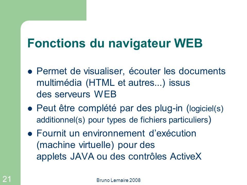 21 Bruno Lemaire 2008 Fonctions du navigateur WEB Permet de visualiser, écouter les documents multimédia (HTML et autres...) issus des serveurs WEB Pe