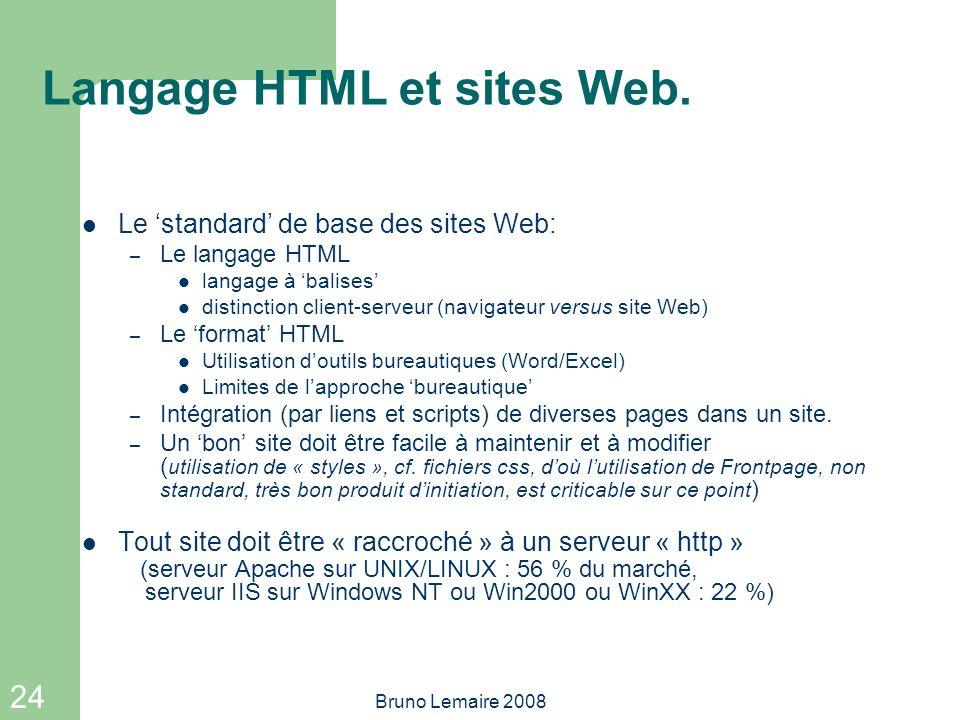 24 Bruno Lemaire 2008 Langage HTML et sites Web. Le standard de base des sites Web: – Le langage HTML langage à balises distinction client-serveur (na