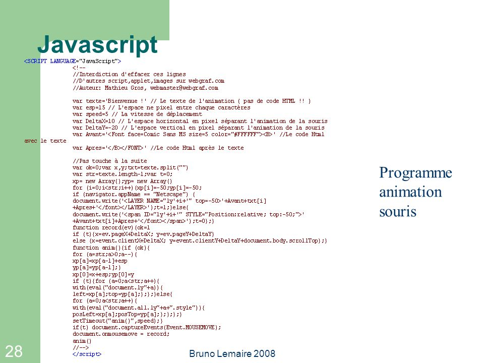 28 Bruno Lemaire 2008 Javascript Programme animation souris