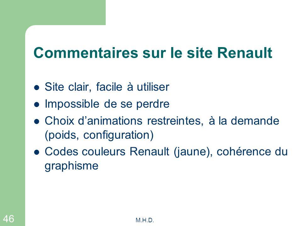 46 M.H.D. Commentaires sur le site Renault Site clair, facile à utiliser Impossible de se perdre Choix danimations restreintes, à la demande (poids, c