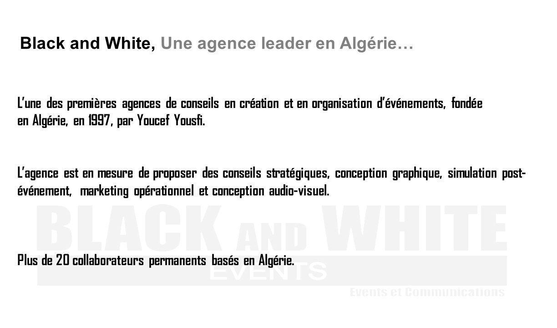 Lune des premières agences de conseils en création et en organisation dévénements, fondée en Algérie, en 1997, par Youcef Yousfi. Lagence est en mesur