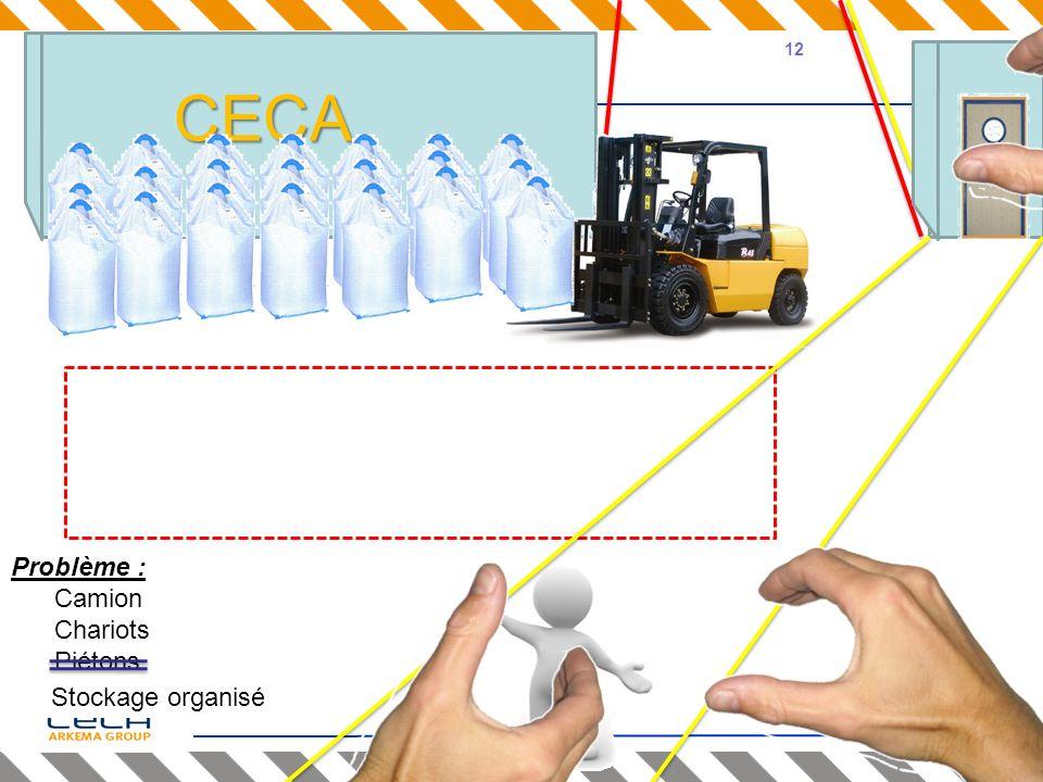 CECA Problème : Camion Chariots Piétons Stockage en vrac Stockage organisé 12