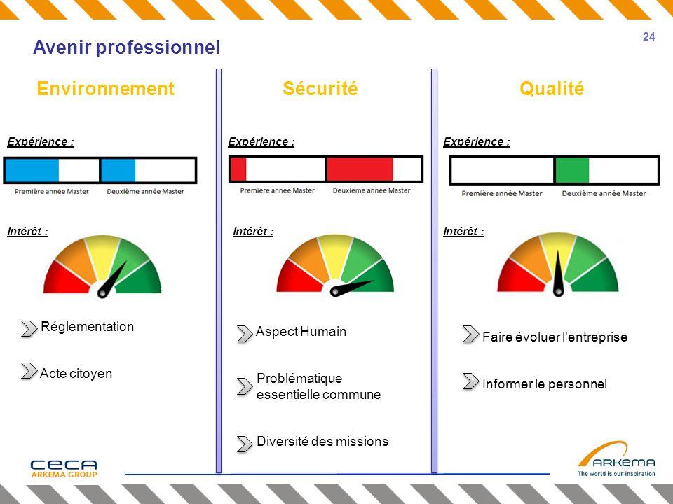 Avenir professionnel EnvironnementSécuritéQualité Expérience : Intérêt : Aspect Humain Problématique essentielle commune Diversité des missions Réglem