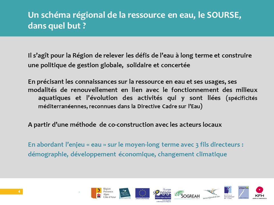 SOURCE I ATELIER TERRITORIAL 4 Un schéma régional de la ressource en eau, le SOURSE, dans quel but ? Il sagît pour la Région de relever les défis de l