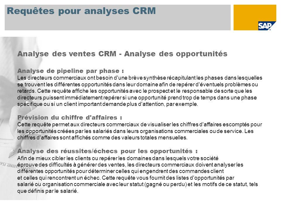 Requêtes pour analyses CRM Analyse des ventes CRM – Offres pour commandes client Suivi de l offre : La requête fournit une synthèse de tous les postes d offre pour une période, un donneur d ordre ou une organisation commerciale spécifique.