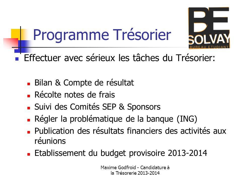 Maxime Godfroid - Candidature à la Trésorerie 2013-2014 Programme Trésorier Effectuer avec sérieux les tâches du Trésorier: Bilan & Compte de résultat