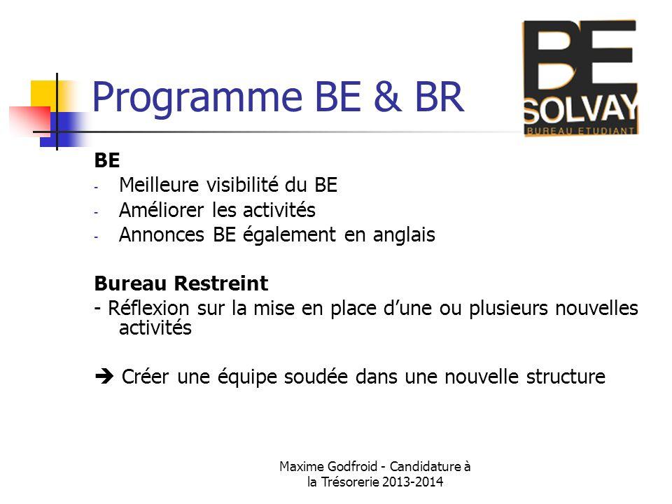 Maxime Godfroid - Candidature à la Trésorerie 2013-2014 Programme BE & BR BE - Meilleure visibilité du BE - Améliorer les activités - Annonces BE égal