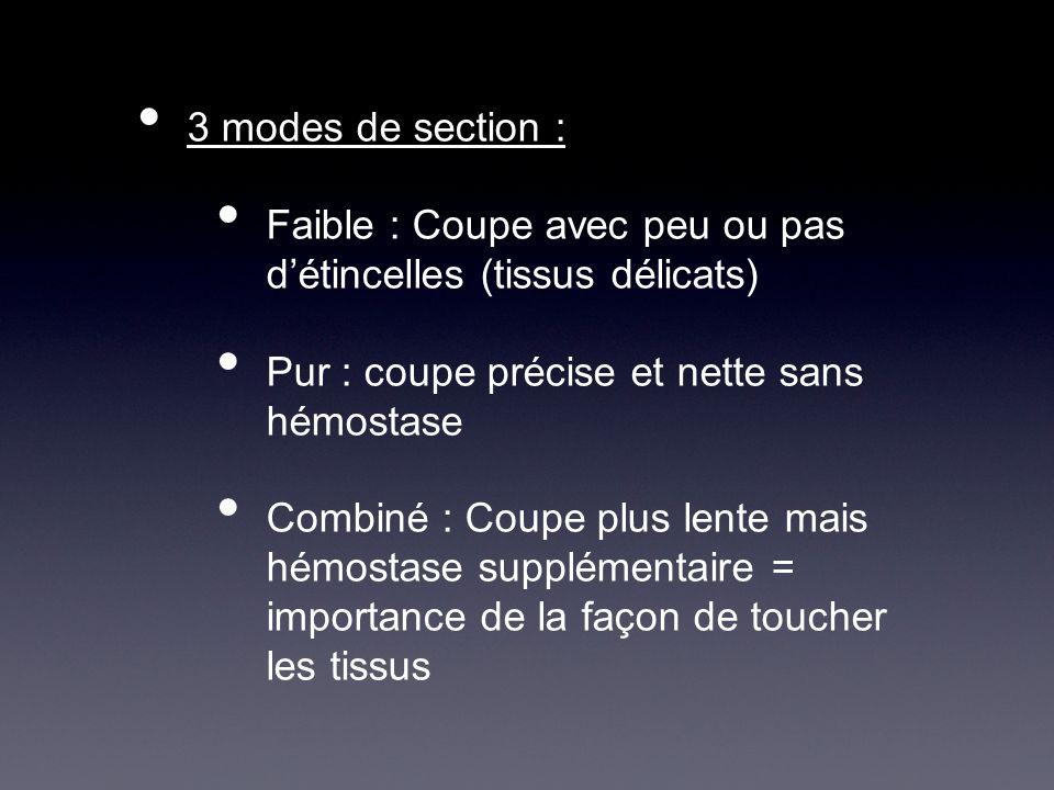 3 modes de section : Faible : Coupe avec peu ou pas détincelles (tissus délicats) Pur : coupe précise et nette sans hémostase Combiné : Coupe plus len