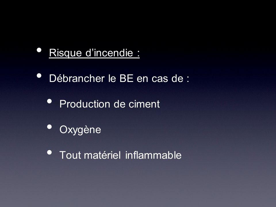 Risque dincendie : Débrancher le BE en cas de : Production de ciment Oxygène Tout matériel inflammable