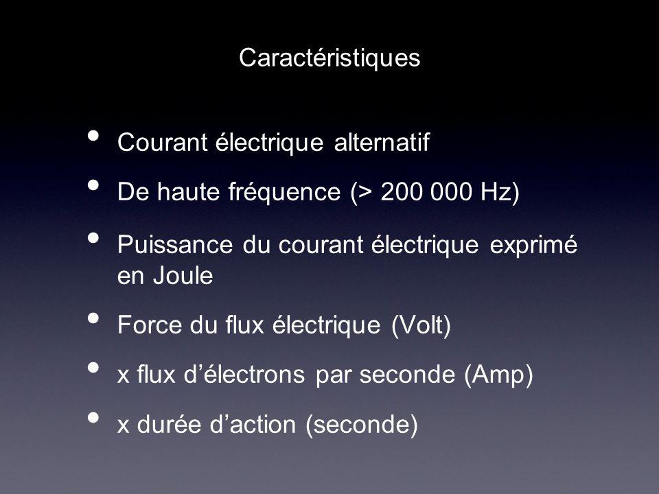 Courant électrique alternatif De haute fréquence (> 200 000 Hz) Puissance du courant électrique exprimé en Joule Force du flux électrique (Volt) x flu