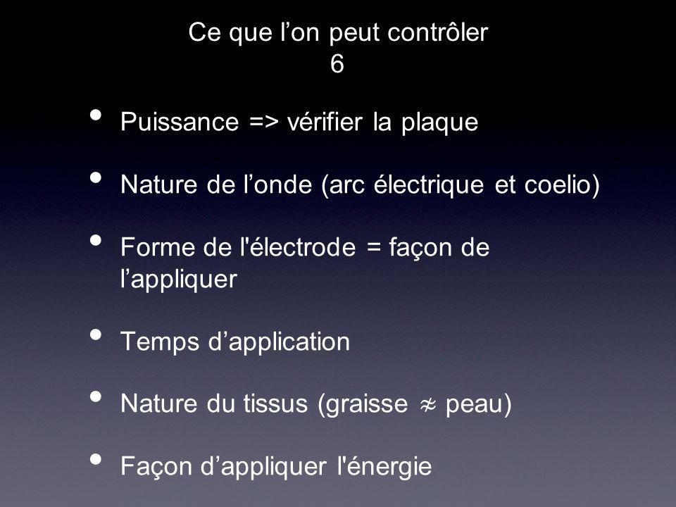 Puissance => vérifier la plaque Nature de londe (arc électrique et coelio) Forme de l'électrode = façon de lappliquer Temps dapplication Nature du tis
