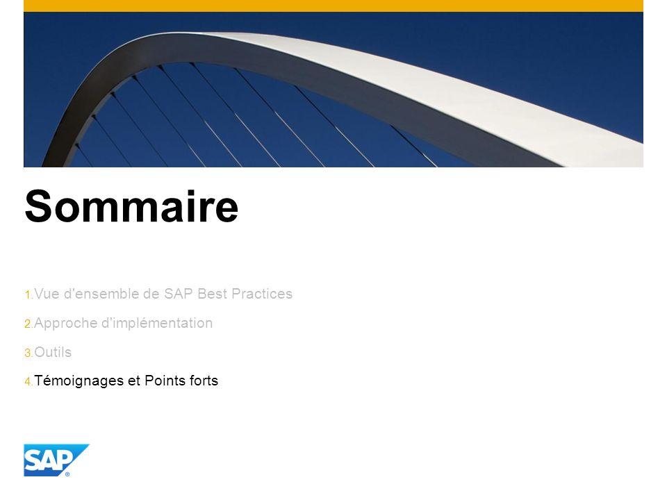 Sommaire 1. Vue d'ensemble de SAP Best Practices 2. Approche d'implémentation 3. Outils 4. Témoignages et Points forts