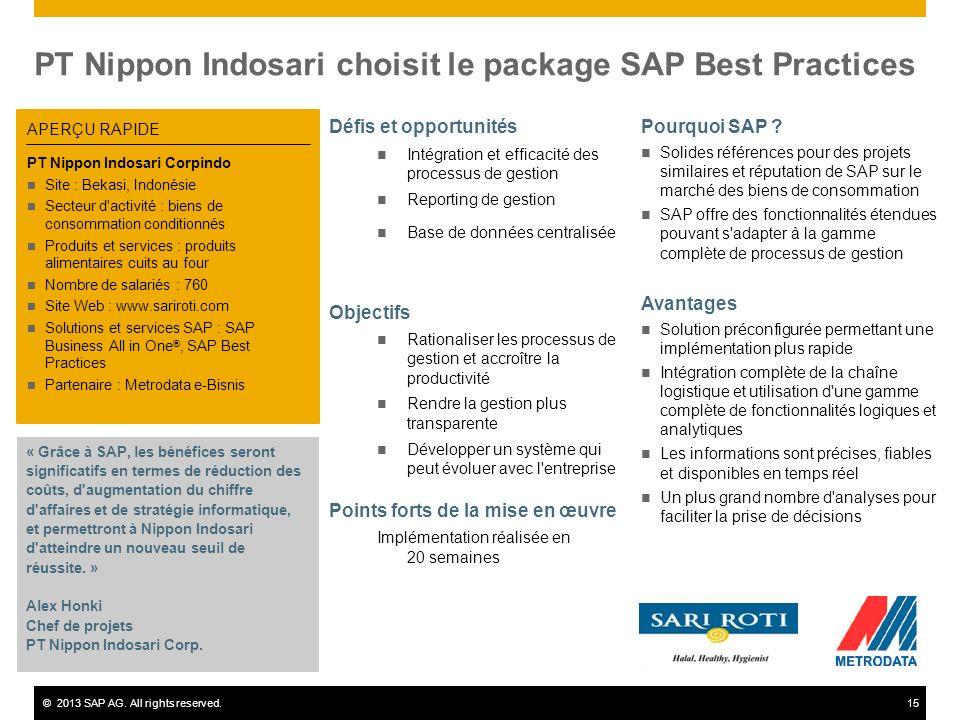 ©2013 SAP AG. All rights reserved.15 PT Nippon Indosari choisit le package SAP Best Practices Défis et opportunités Intégration et efficacité des proc