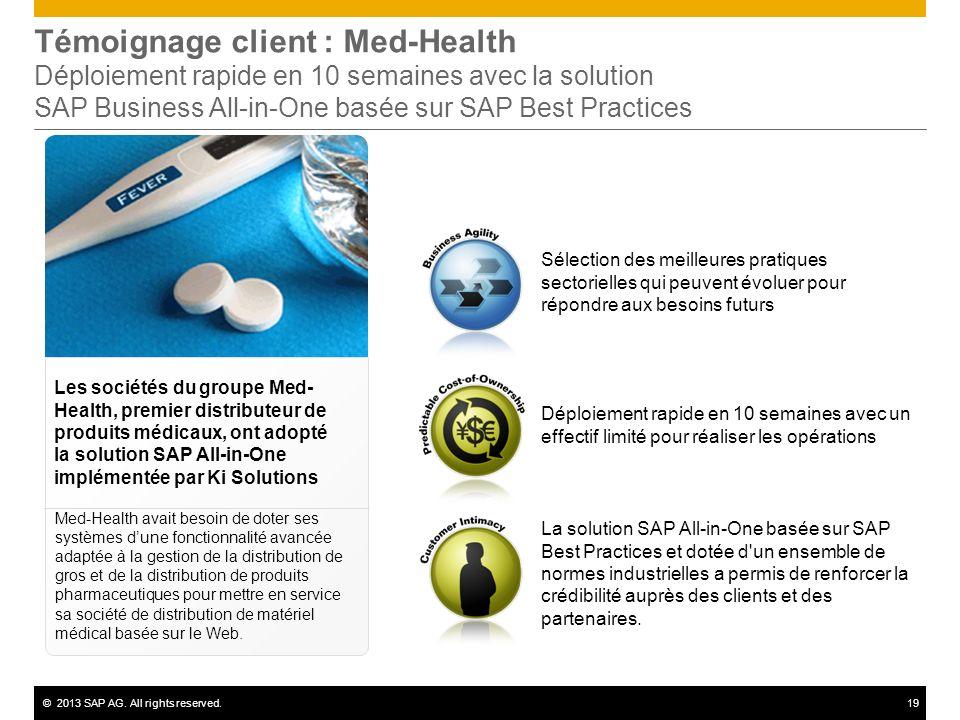 ©2013 SAP AG. All rights reserved.19 Sélection des meilleures pratiques sectorielles qui peuvent évoluer pour répondre aux besoins futurs Témoignage c