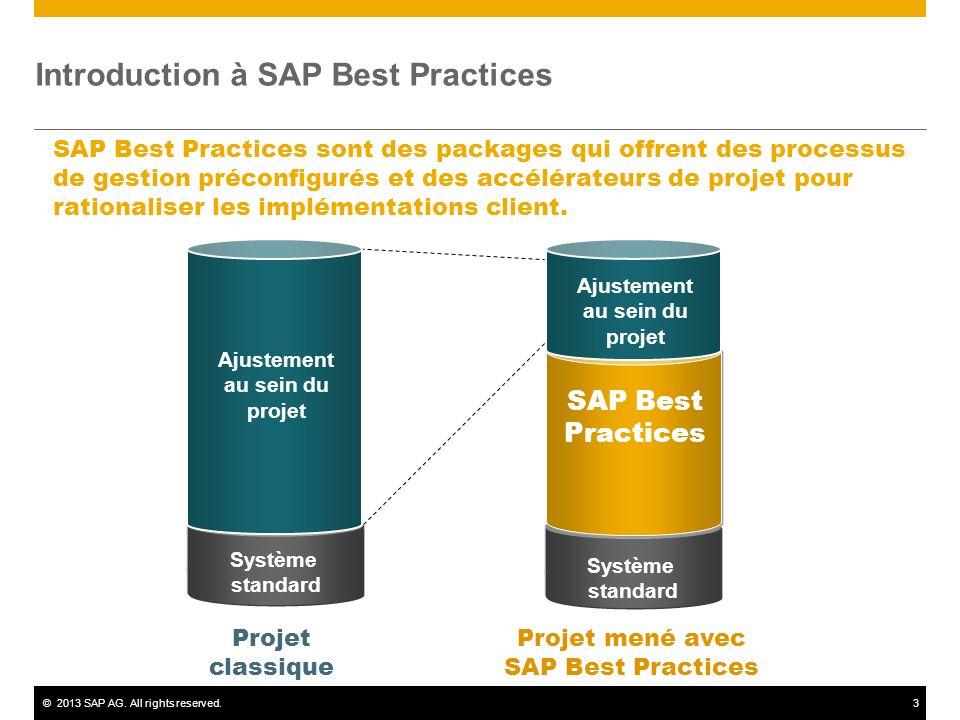 ©2013 SAP AG. All rights reserved.3 Introduction à SAP Best Practices SAP Best Practices sont des packages qui offrent des processus de gestion précon