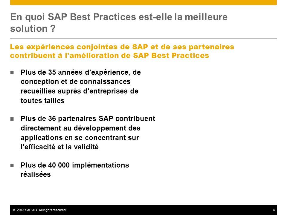 ©2013 SAP AG. All rights reserved.4 En quoi SAP Best Practices est-elle la meilleure solution ? Les expériences conjointes de SAP et de ses partenaire