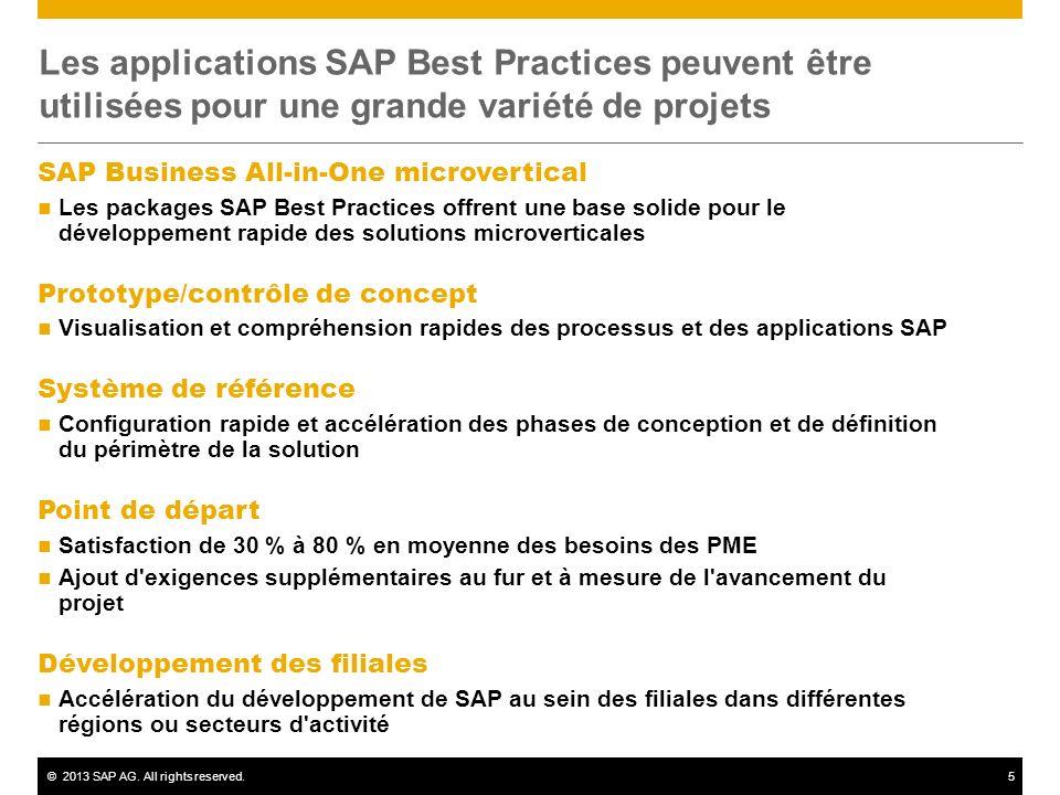 ©2013 SAP AG. All rights reserved.5 Les applications SAP Best Practices peuvent être utilisées pour une grande variété de projets SAP Business All-in-