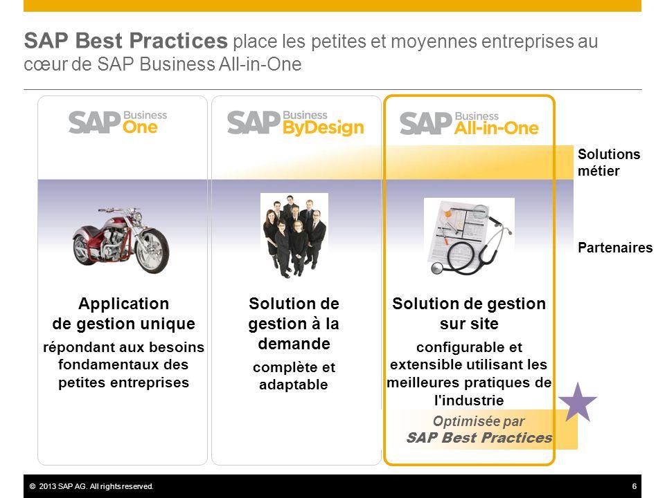 ©2013 SAP AG. All rights reserved.6 SAP Best Practices place les petites et moyennes entreprises au cœur de SAP Business All-in-One Solution de gestio
