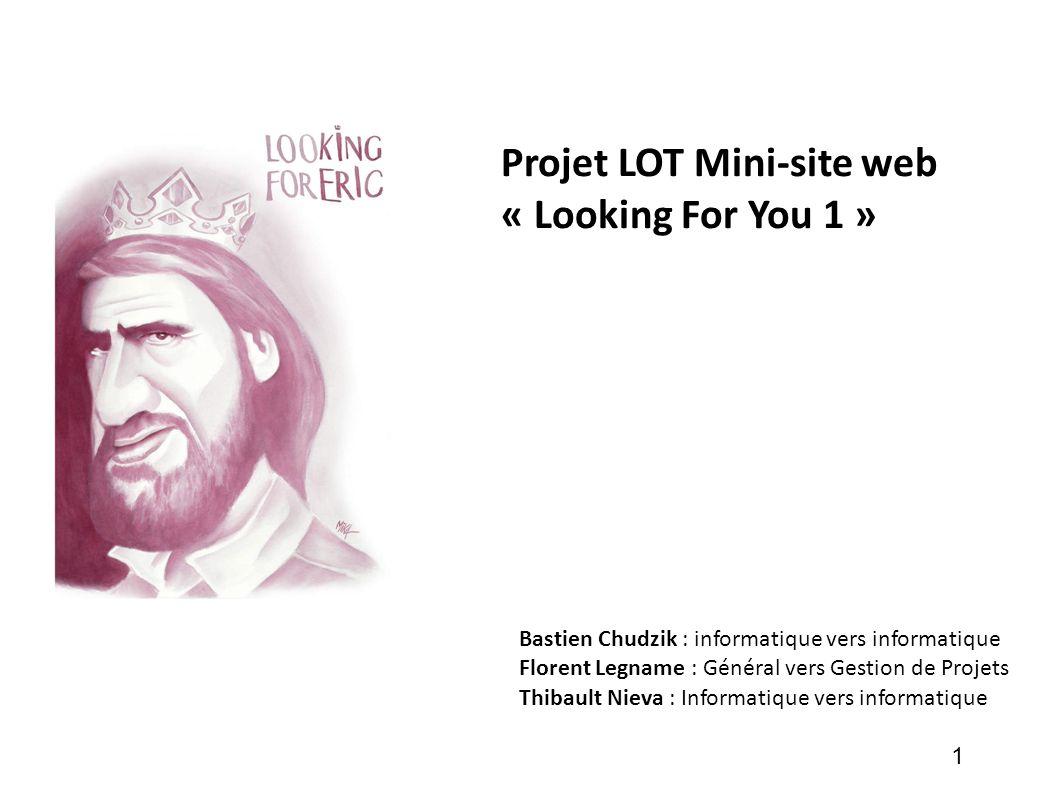 Projet LOT Mini-site web « Looking For You 1 » Bastien Chudzik : informatique vers informatique Florent Legname : Général vers Gestion de Projets Thib