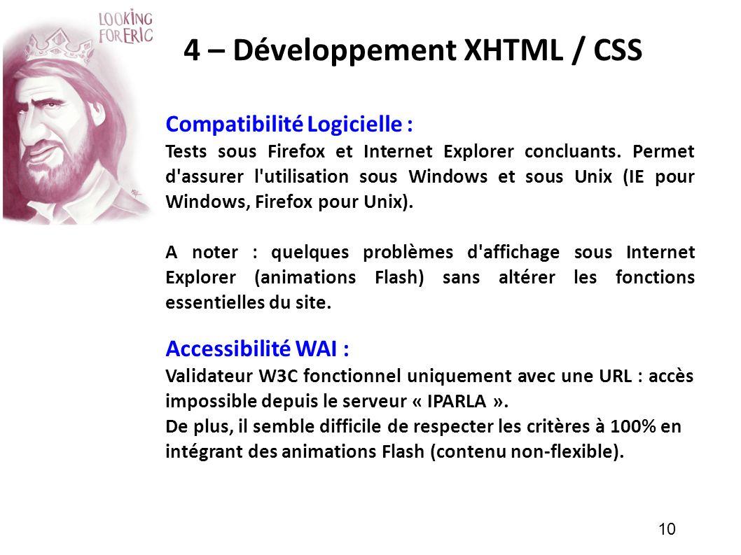 10 4 – Développement XHTML / CSS Compatibilité Logicielle : Tests sous Firefox et Internet Explorer concluants. Permet d'assurer l'utilisation sous Wi