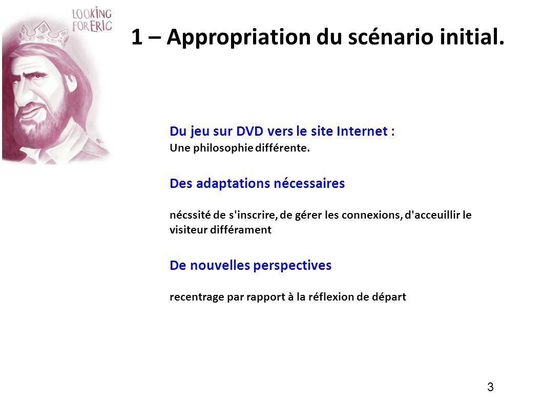 3 1 – Appropriation du scénario initial. Du jeu sur DVD vers le site Internet : Une philosophie différente. Des adaptations nécessaires nécssité de s'