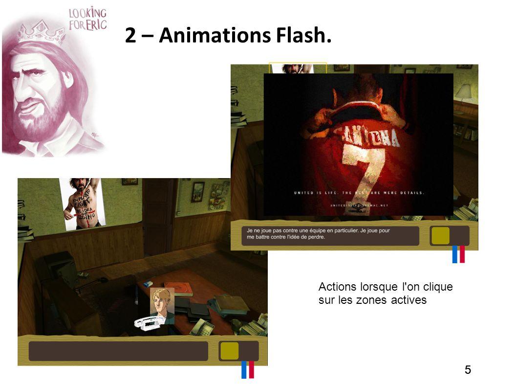 555 2 – Animations Flash. Actions lorsque l'on clique sur les zones actives