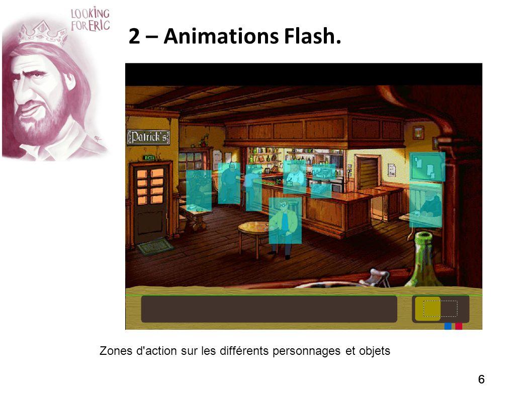 666 2 – Animations Flash. Zones d'action sur les différents personnages et objets
