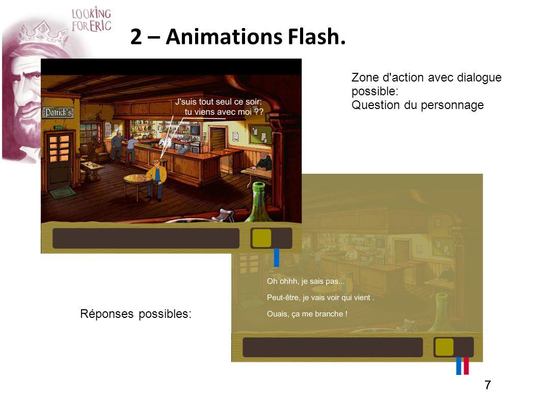 777 2 – Animations Flash. Zone d'action avec dialogue possible: Question du personnage Réponses possibles: