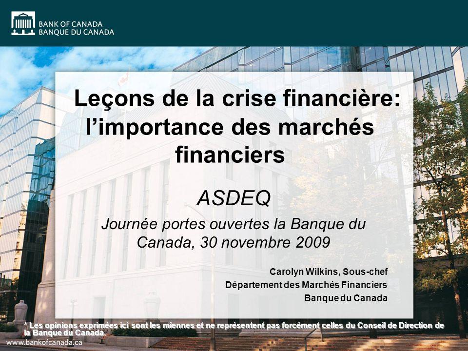 Leçons de la crise financière: limportance des marchés financiers ASDEQ Journée portes ouvertes la Banque du Canada, 30 novembre 2009 Carolyn Wilkins,