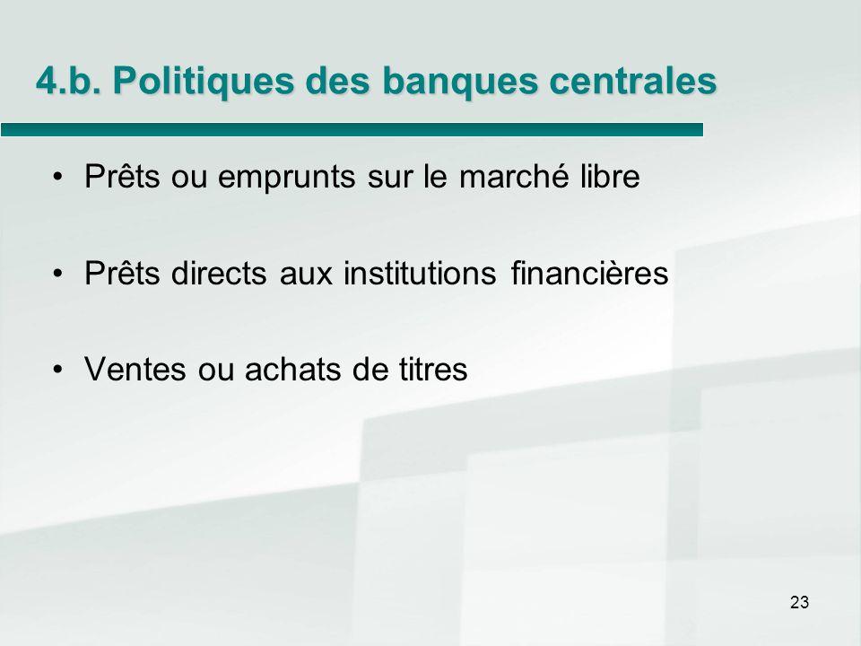 4.b. Politiques des banques centrales Prêts ou emprunts sur le marché libre Prêts directs aux institutions financières Ventes ou achats de titres 23