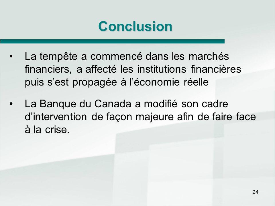 24 Conclusion La tempête a commencé dans les marchés financiers, a affecté les institutions financières puis sest propagée à léconomie réelle La Banqu