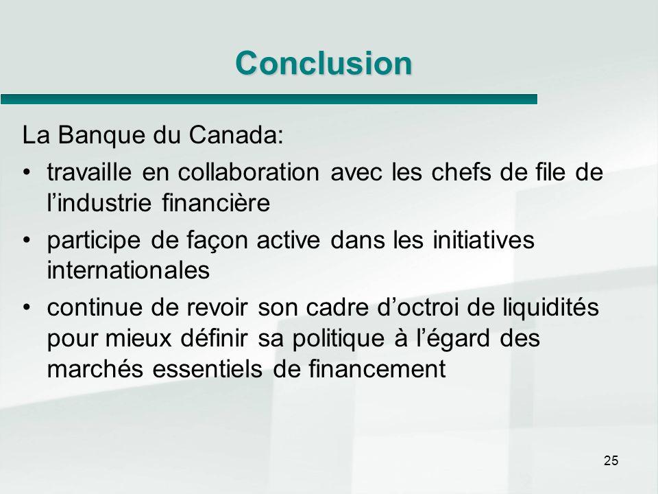 25 Conclusion La Banque du Canada: travaille en collaboration avec les chefs de file de lindustrie financière participe de façon active dans les initi