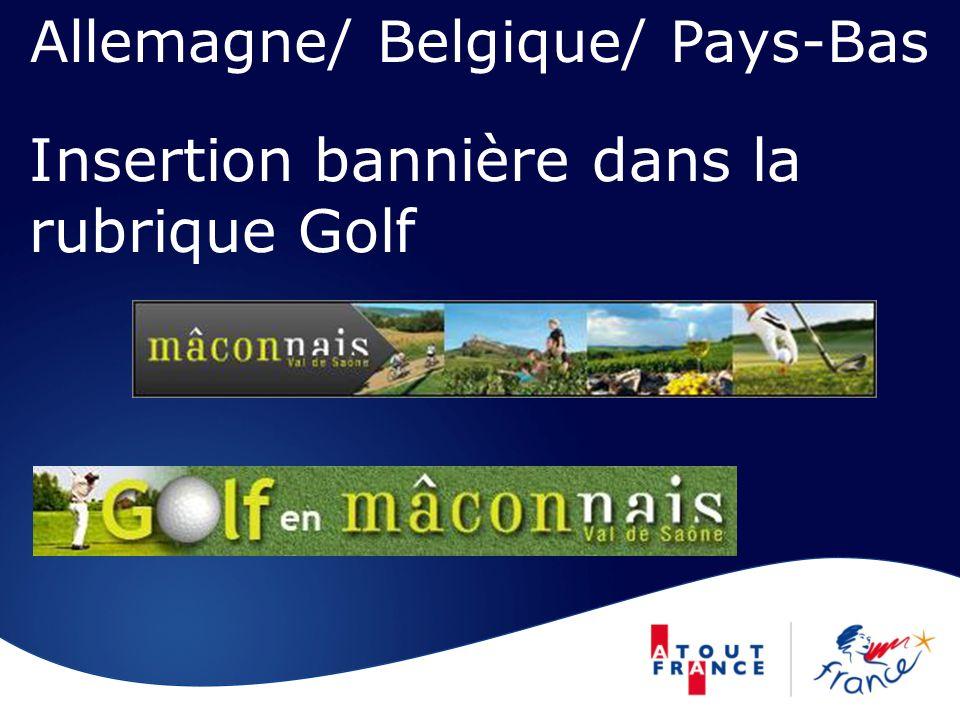 Insertion bannière dans la rubrique Golf Allemagne/ Belgique/ Pays-Bas