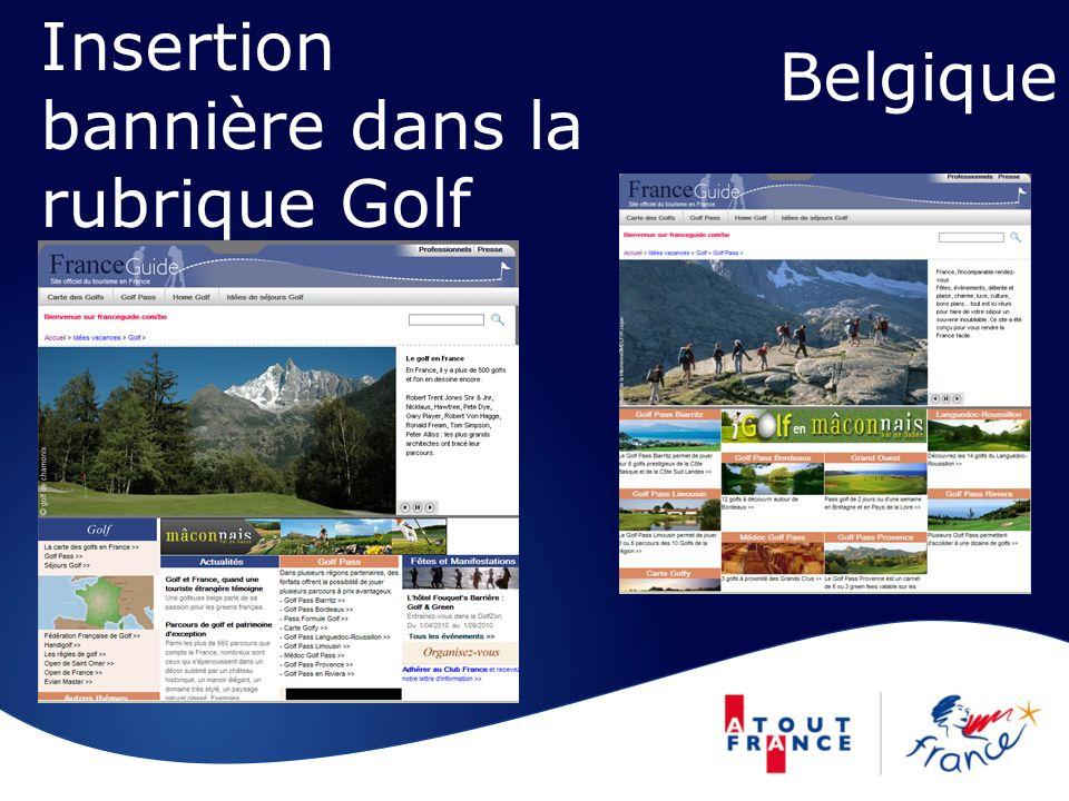 Belgique Insertion bannière dans la rubrique Golf