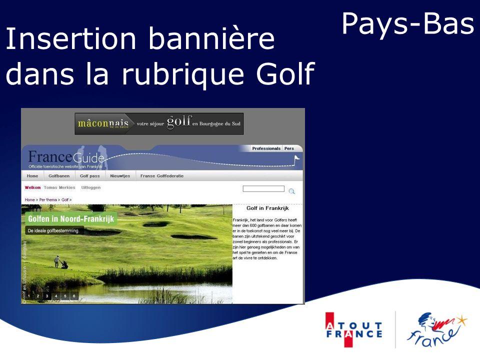 Pays-Bas Insertion bannière dans la rubrique Golf