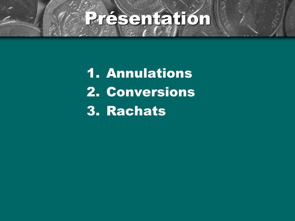 Présentation 1.Annulations 2.Conversions 3.Rachats