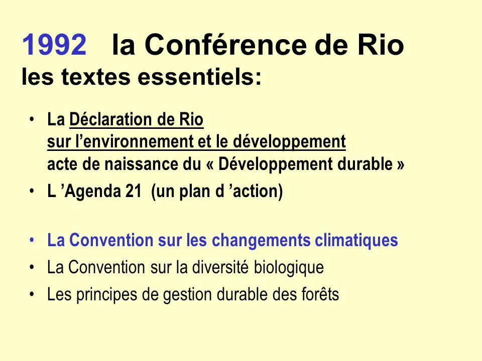1992 la Conférence de Rio les textes essentiels: La Déclaration de Rio sur lenvironnement et le développement acte de naissance du « Développement dur