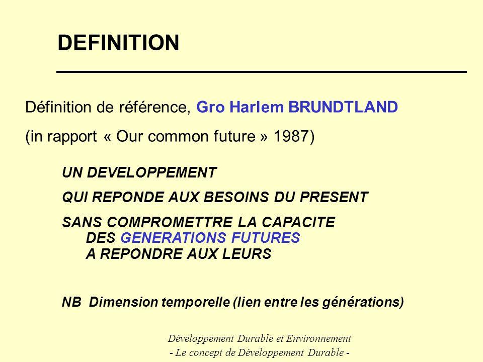 DEFINITION Définition de référence, Gro Harlem BRUNDTLAND (in rapport « Our common future » 1987) UN DEVELOPPEMENT QUI REPONDE AUX BESOINS DU PRESENT