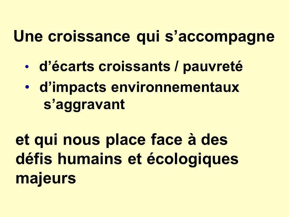 Une croissance qui saccompagne décarts croissants / pauvreté dimpacts environnementaux saggravant et qui nous place face à des défis humains et écolog