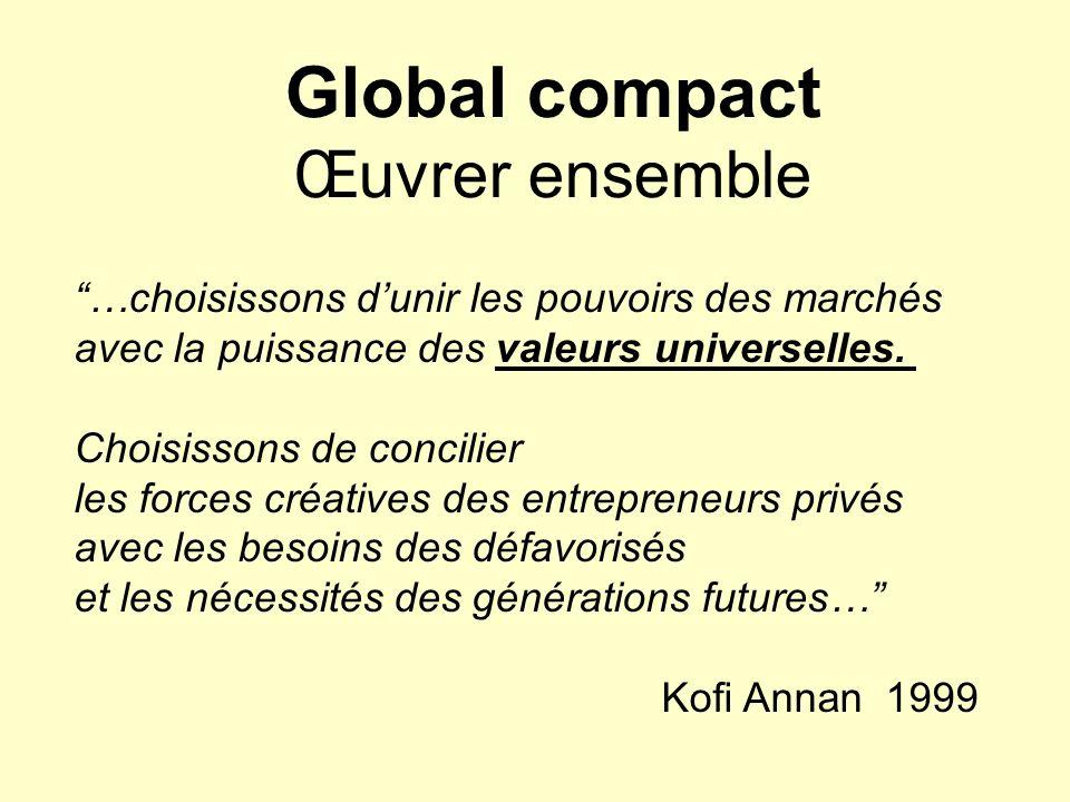 Global compact Œuvrer ensemble …choisissons dunir les pouvoirs des marchés avec la puissance des valeurs universelles. Choisissons de concilier les fo