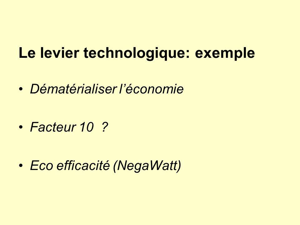 Le levier technologique: exemple Dématérialiser léconomie Facteur 10 ? Eco efficacité (NegaWatt)