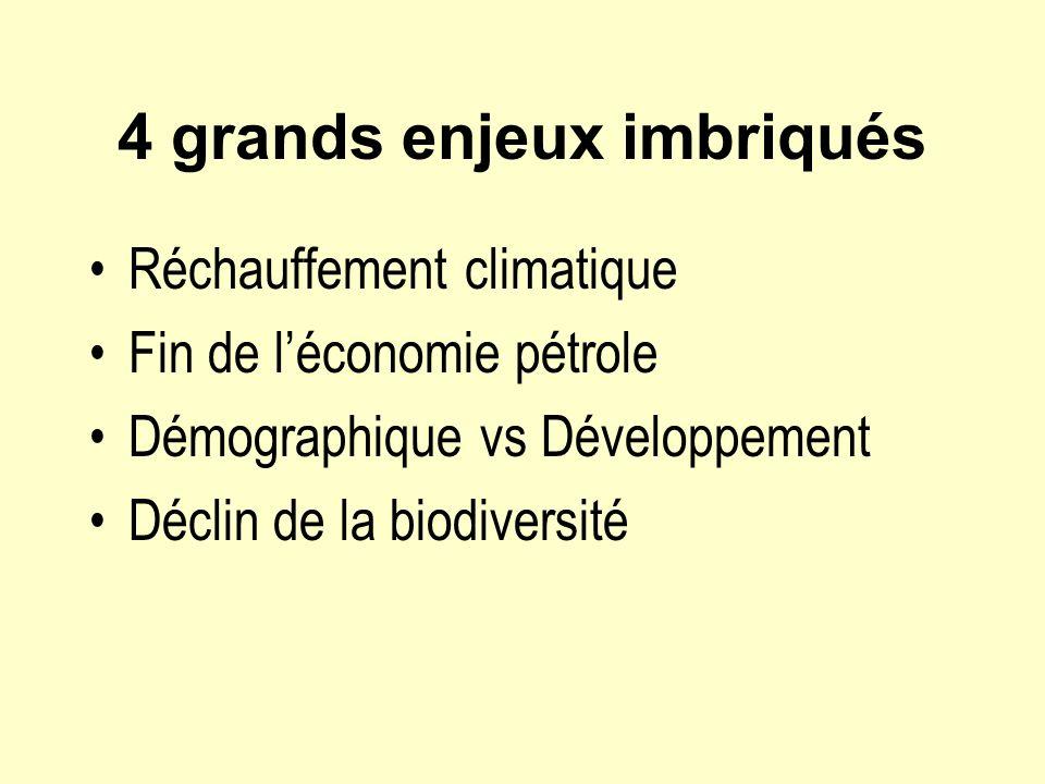 4 grands enjeux imbriqués Réchauffement climatique Fin de léconomie pétrole Démographique vs Développement Déclin de la biodiversité
