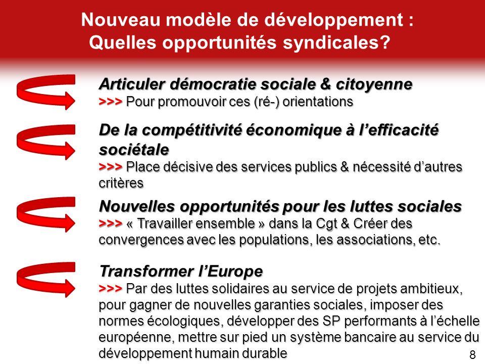 8 De la compétitivité économique à lefficacité sociétale >>> Place décisive des services publics & nécessité dautres critères Nouvelles opportunités p