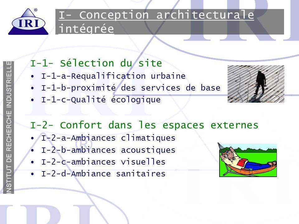 I N S T I T U T D E R E C H E R C H E I N D U S T R I E L L E I- Conception architecturale intégrée I-1- Sélection du site I-1-a-Requalification urbai