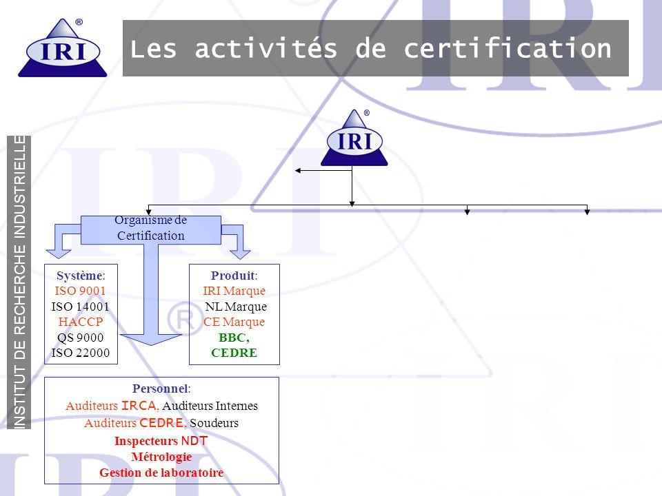 I N S T I T U T D E R E C H E R C H E I N D U S T R I E L L E Les activités de certification Système: ISO 9001 ISO 14001 HACCP QS 9000 ISO 22000 Produ