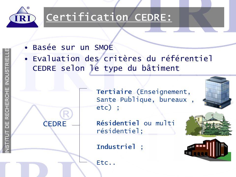 I N S T I T U T D E R E C H E R C H E I N D U S T R I E L L E Certification CEDRE: Basée sur un SMOE Evaluation des critères du référentiel CEDRE selo