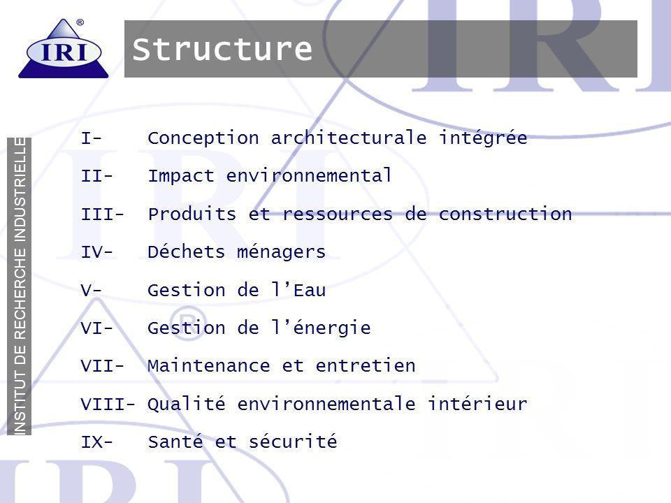 I N S T I T U T D E R E C H E R C H E I N D U S T R I E L L E Structure I- Conception architecturale intégrée II- Impact environnemental III- Produits