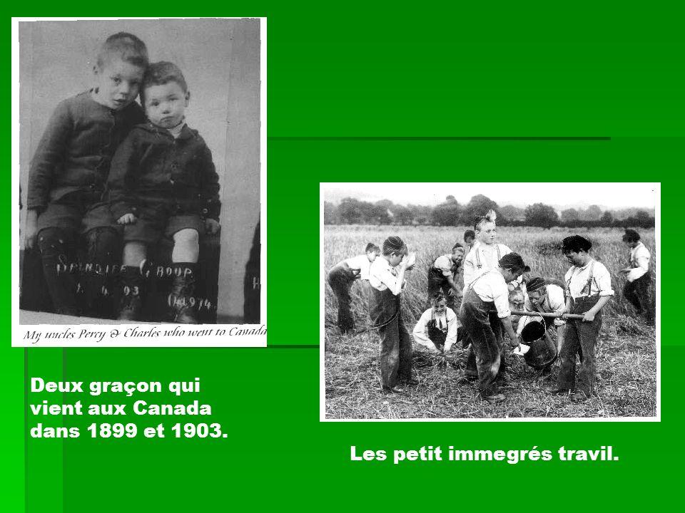 Deux graçon qui vient aux Canada dans 1899 et 1903. Les petit immegrés travil.